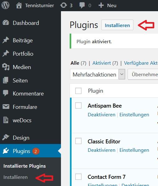 Wordpress Plugin Installation BT Tennisturnier