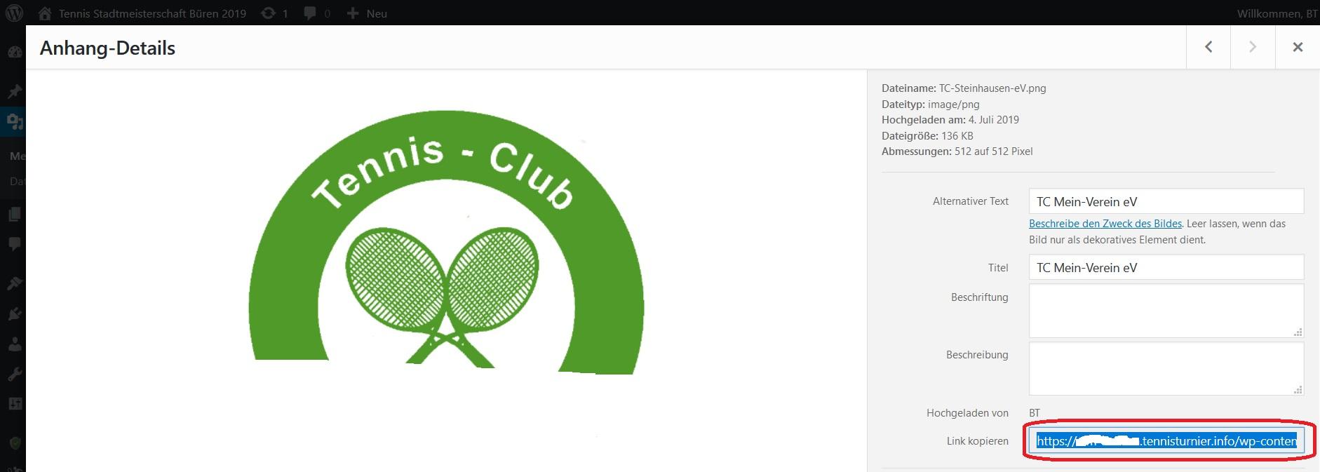 Wordpress Tennisturnier-Medien-Datei hinzufuegen