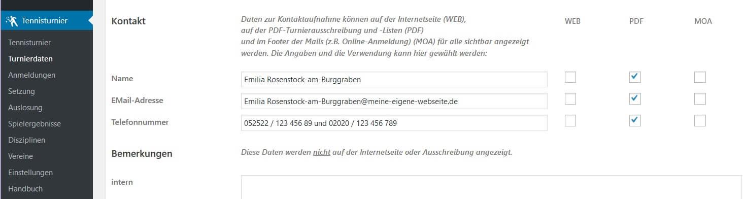 Tennis Turnierdaten - Kontakt konfigurieren für Web- und PDF-Darstellung und Online-Anmeldung - WordPress Plugin