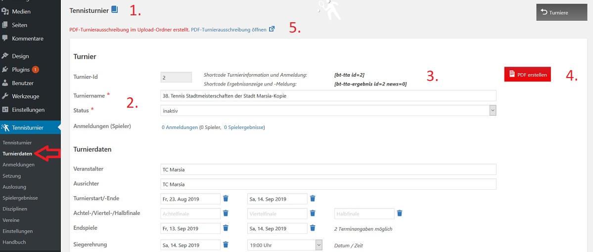 Turnierdaten mit PDF-Turnierausschreibung - WordPress Tennisturnier Plugin