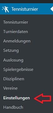 Wordpress Plugin - Tennis Turnierverwaltung - Menu