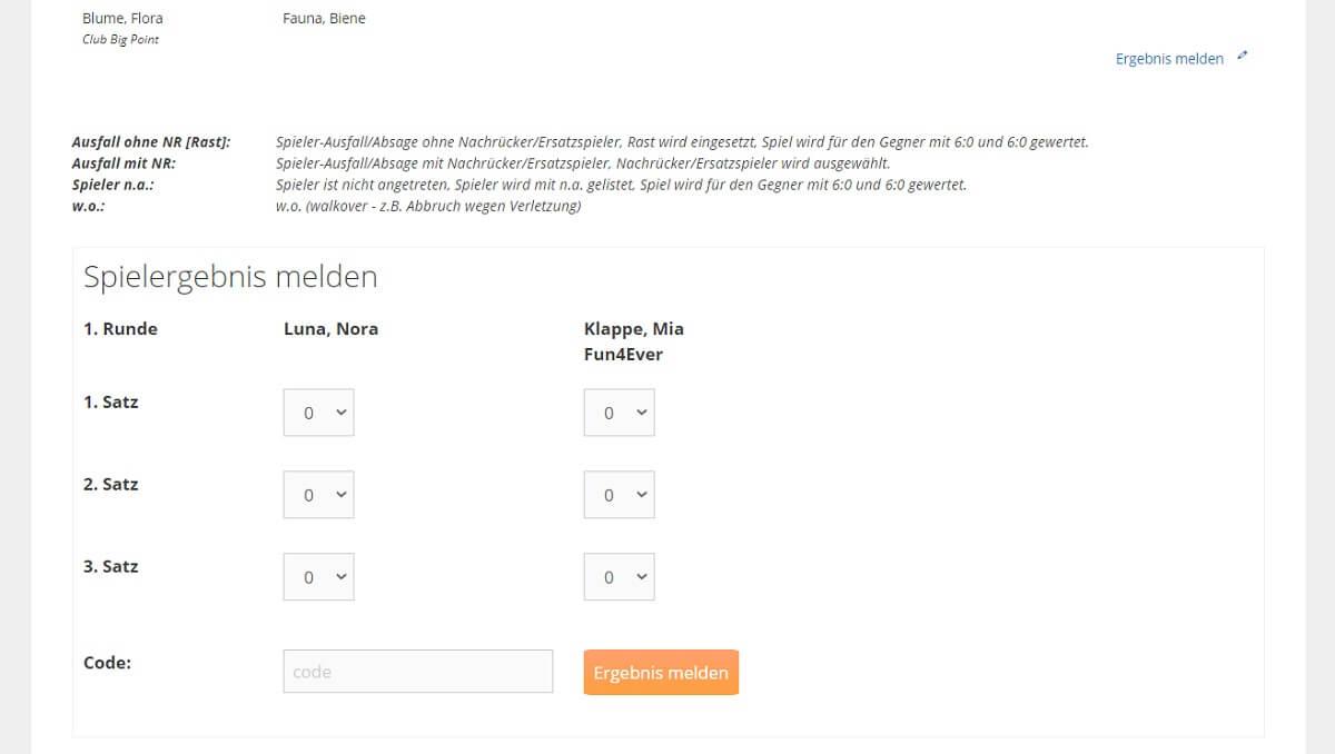 Wordpress Shortcode Tennisturnier Spielergebnisse - Online Ergebnismeldung