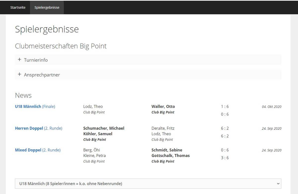 Wordpress Plugin Tennisturnier Shortcode Spielergebniss und online Spielergenbnismeldung