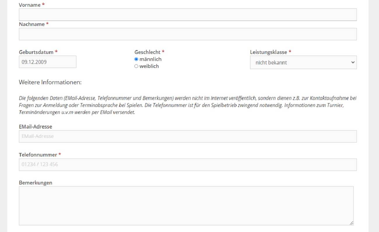 Wordpress Shortcode - Turnierinfo und Online-Anmeldung anzeigen