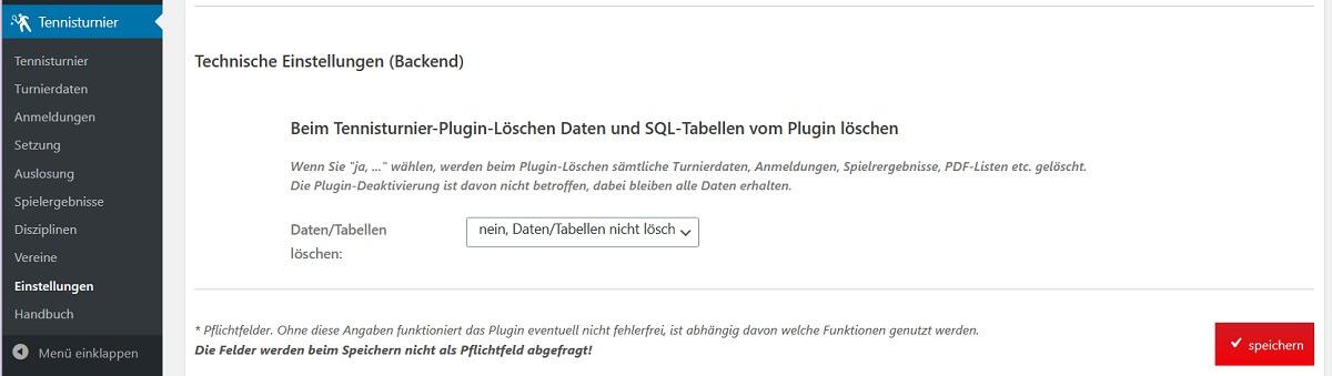 Wordpress Tennisturnier Plugin entfernen: Daten und SQL-Tabellen vom Plugin löschen