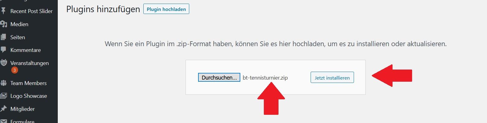 Wordpress Tennisturnier zip-Datei vom Plugin hochladen im Backend
